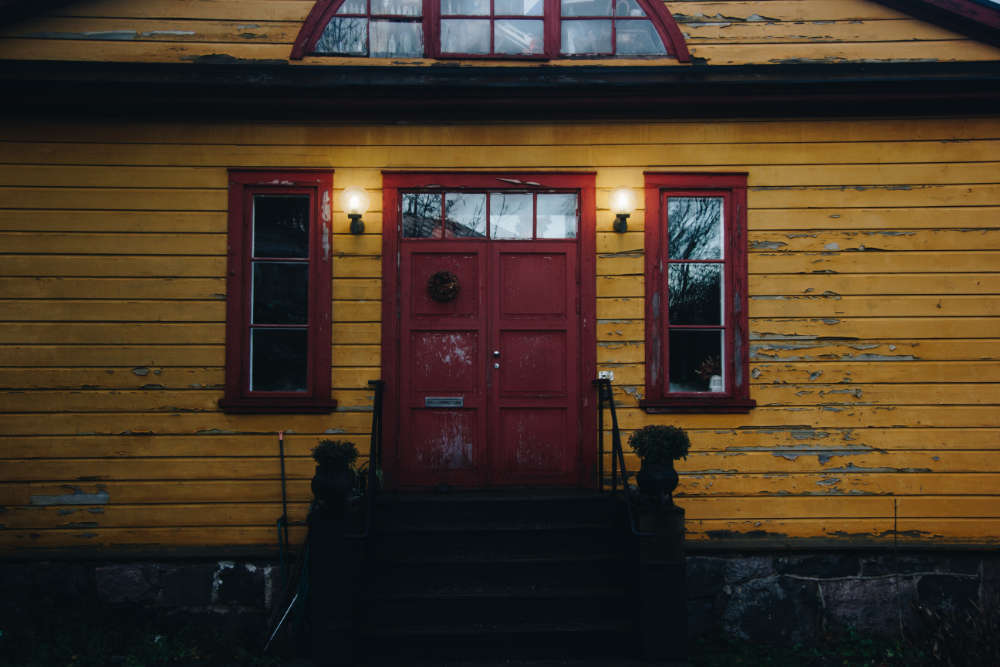Yellow Home with Red Door