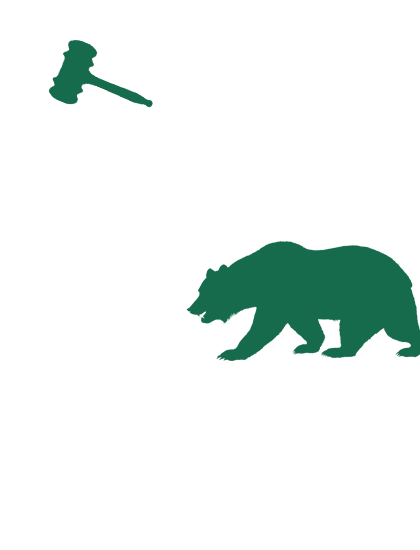 California Law Help Logo with green bear and gavel on white California silhouette