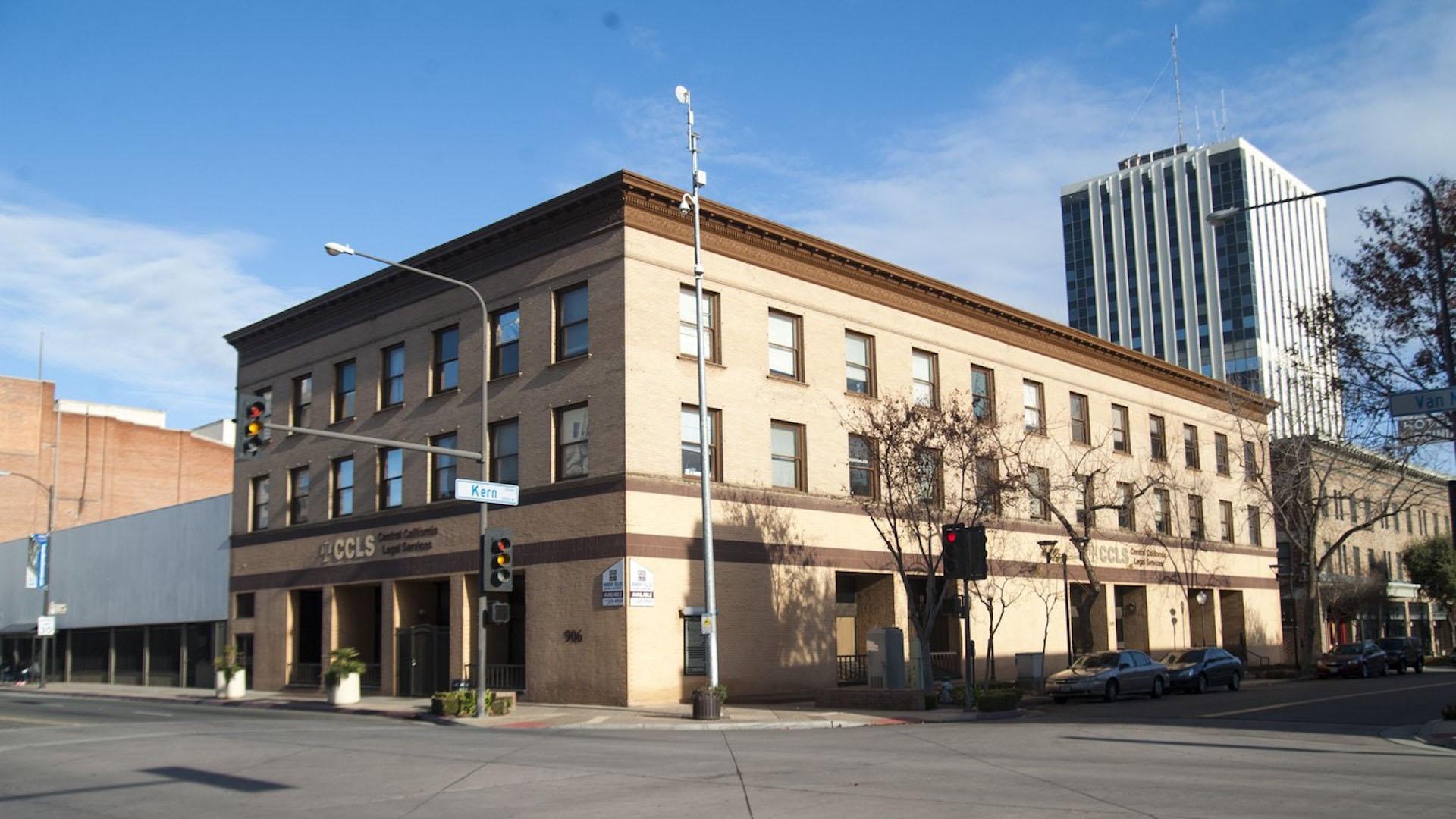 2115 Kern Street Building Displaying CCLS Logo in Gold on Building
