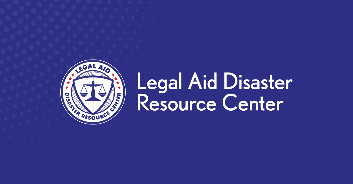 Legal Aid Disaster Resource Center Logo in White on Blue Background